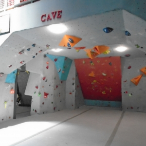 Outside the bouldering cave at Carabiner's