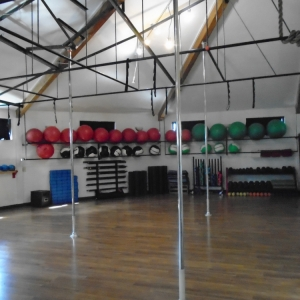 Back of upstairs fitness studio at Carabiner's