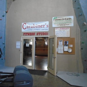 Outside of upstairs fitness studio at Carabiner's