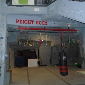 Directly outside the weight room/downstairs fitness room at Carabiner's
