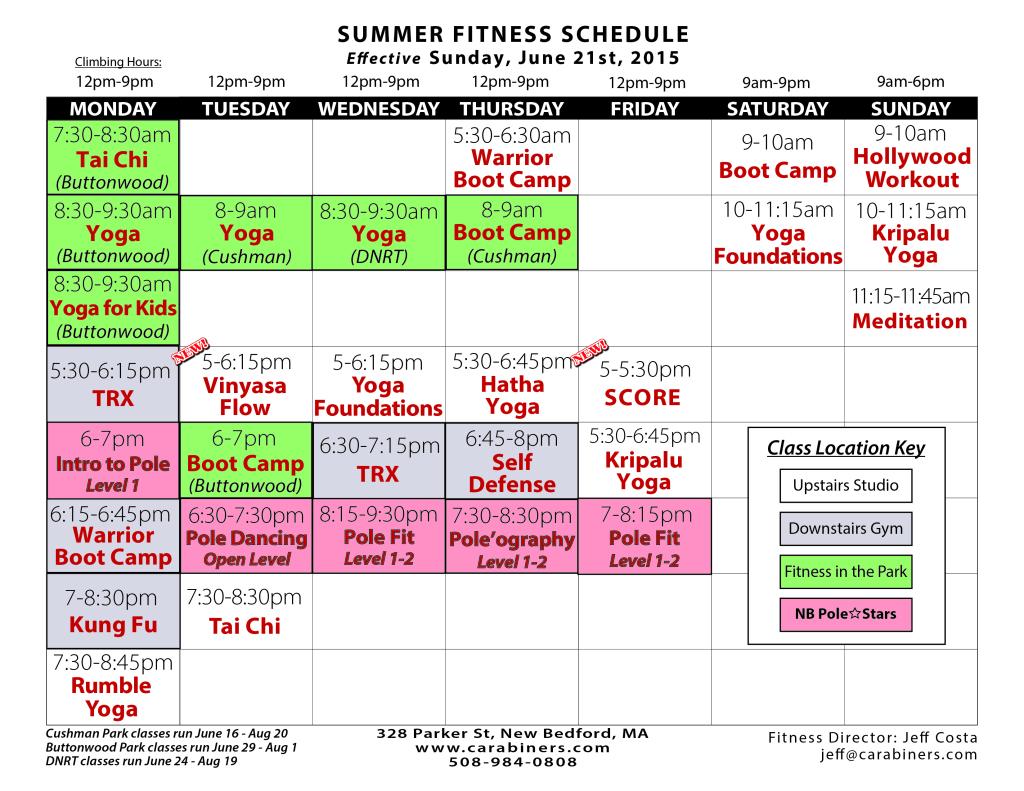 Carabiner's Indoor Climbing + Fitness class schedule, Summer 2015