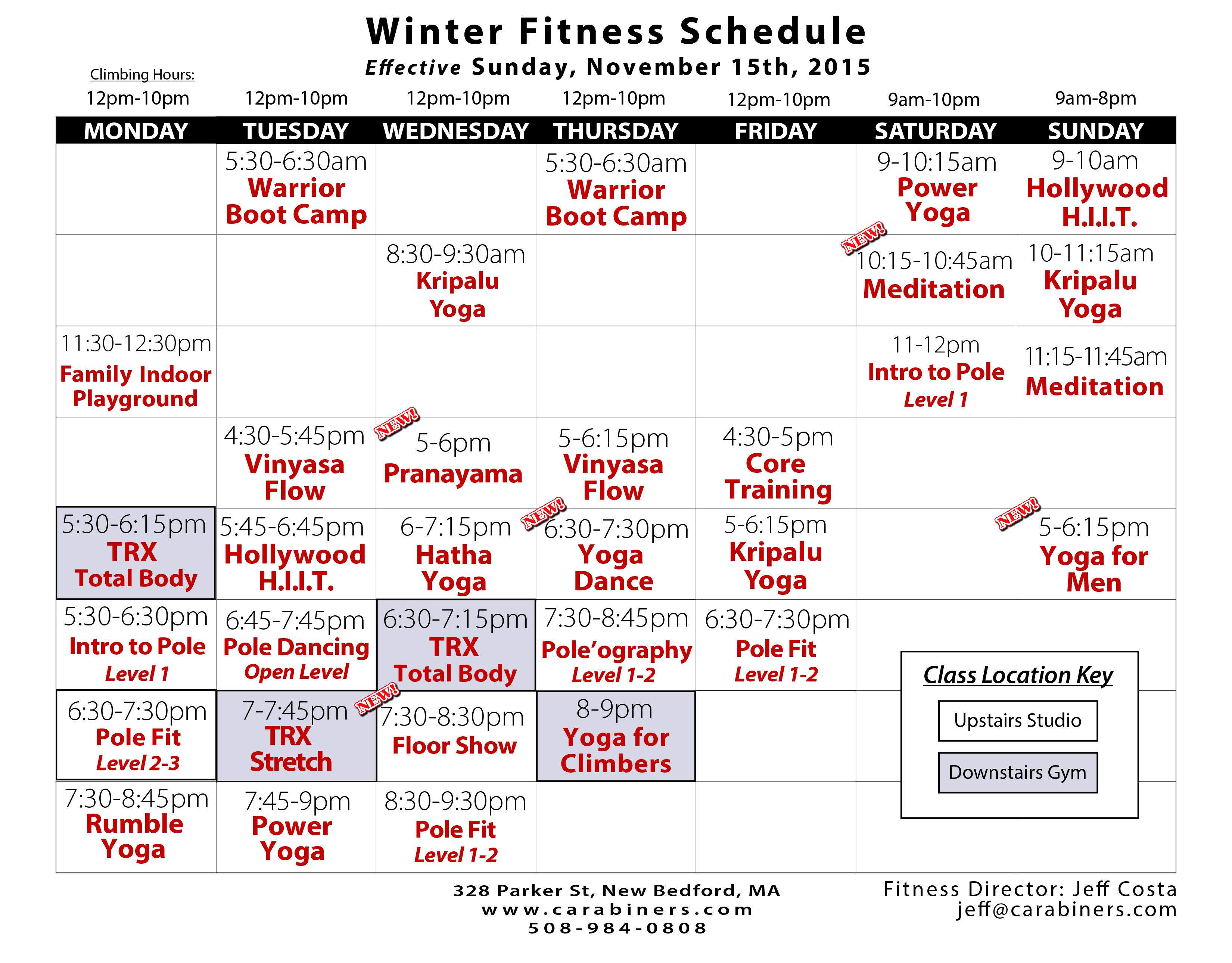 winter fitness schedule 2015