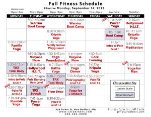 Fitness Calendar Fall 2015