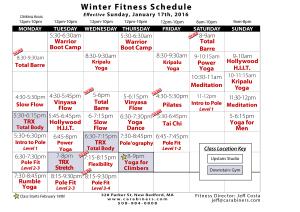Winter Fitness Schedule 2016