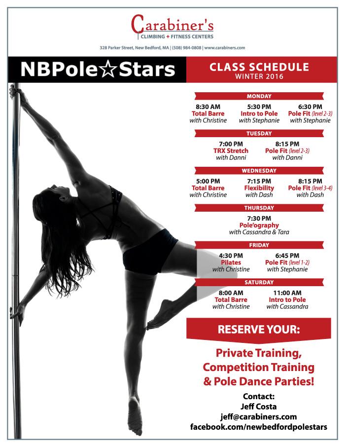 pole fitness schedule winter 2016