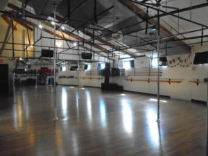 Inside the upstairs fitness studio at Carabiner's